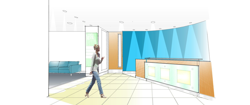 Reception area refurbishment to office building