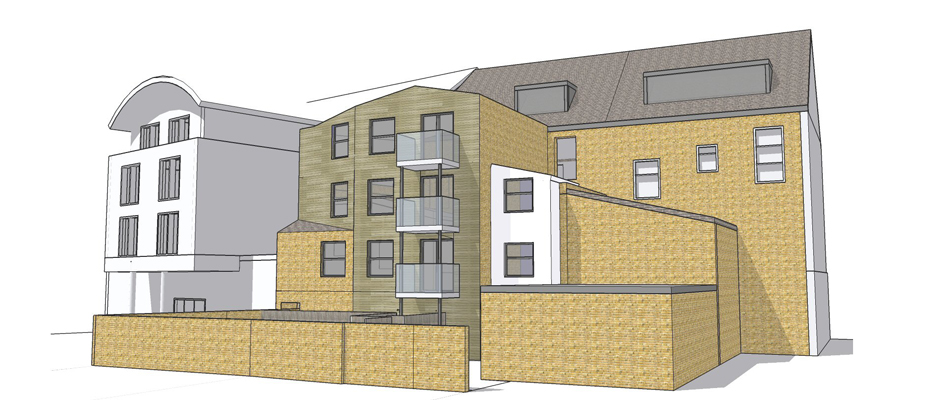 Four storey extension at rear of retail premises and conversion of upper parts to six flats