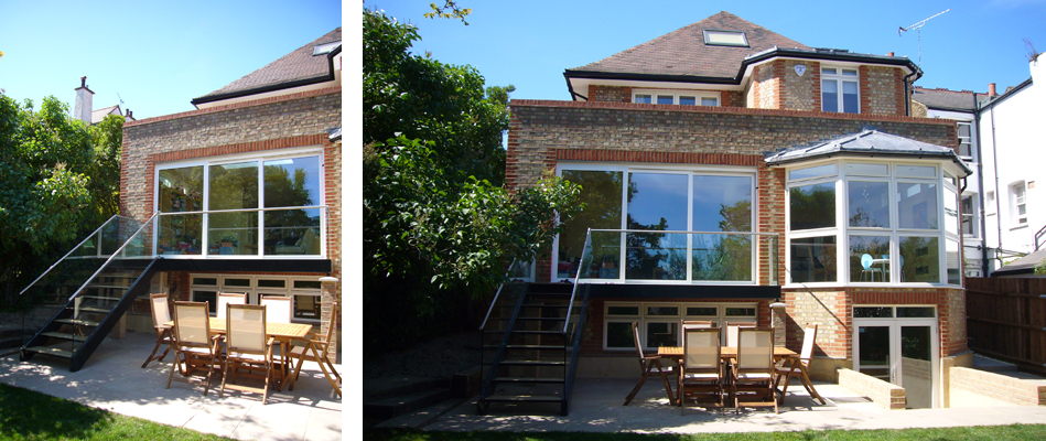 Three storey extension in conservation area